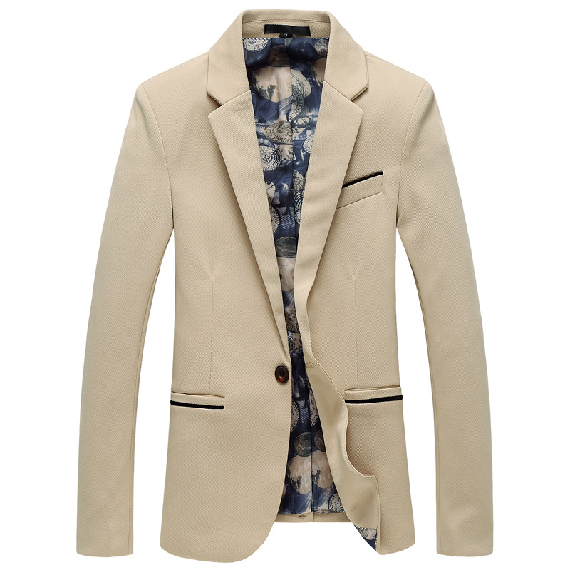! Autumn And Winter New Style Large Size Simple Single Breasted Small Suit No Ironing Anti-wrinkle Knitted Fabric MEN'S Business
