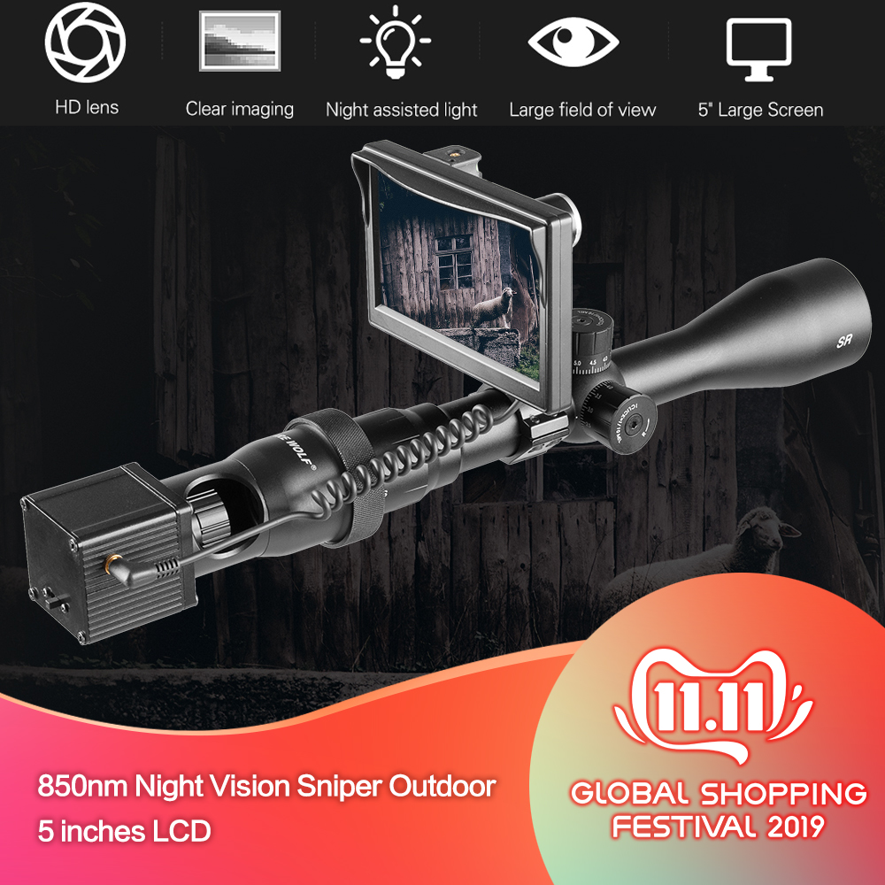 850nm Night Vision Scope Sniper Outdoor Hunting Optic Sight Tactical Riflescope Infrared Flashlight 5 Inches LCD Cameras H