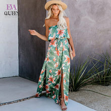 EvaQueen Summer Print Floral Summer Dress Women Off Shoulder Side Split Beach Maxi abiti lunghi Backless Female Holiday Vestidos