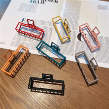 2021 new ladies fashion shark clip metal square claw clip, beautiful color shower hairpin geometric hair accessories