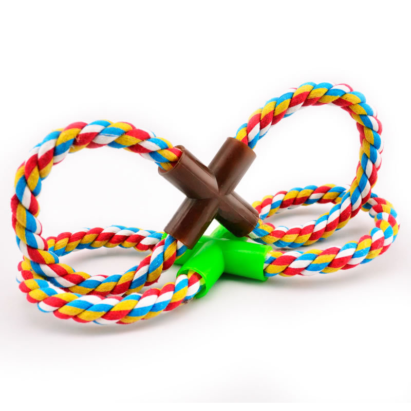 """Pet Dog Cotton """"8"""" shape Rope Chew Knot Toys for Pets Interactive Cotton Toy 28cm Dogs Supplies"""