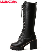 MORAZORA 2020 autumn winter fashion women boots genuine leather black color lace up knee high boots big size 33 46