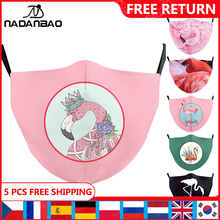 Kid Masks Face-Cover Fabric Washable Pink Adult Men Print NADANBAO Phoenicopteridae