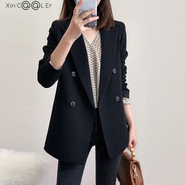 Spring Autumn Fashion Women Black Blazer Long Sleeve Pocket Double Breasted Office Ladies Business Coat Female Retro Suits 1