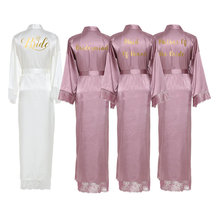 2019 New  Silk Satin Lace Robes White Bridesmaid Bride Wedding Long Robe Bathrobe