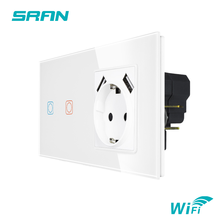 SRAN Tuya  EU 2Frame Wireless Switch And Socket With Usb Crystal Glass Panel 153*82mm 16A Wall Socket With Smart Switch 2Gang