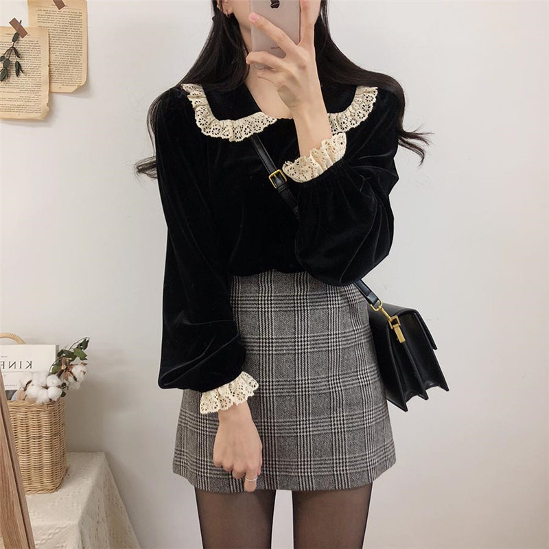 Alien Kitty Black High Quality Velvet High-Ranking  Lace 2020 Hot Sale Fashion Office Lady Plus Size Full-Sleeved Blouses