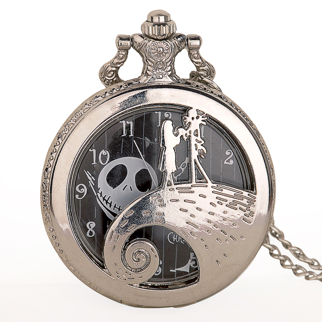 Unique Pocket Watch Vintage Night Mare Design Shilver Quartz Pocket Watches For Men Women Reloj De Bolsillo Clock GifTD2048