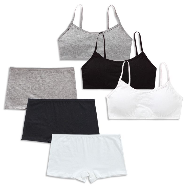 Cotton Bra Set Teens Training Bras Girls Underwear Set Teenagers Puberty  Wireless Bra+Underpants 1