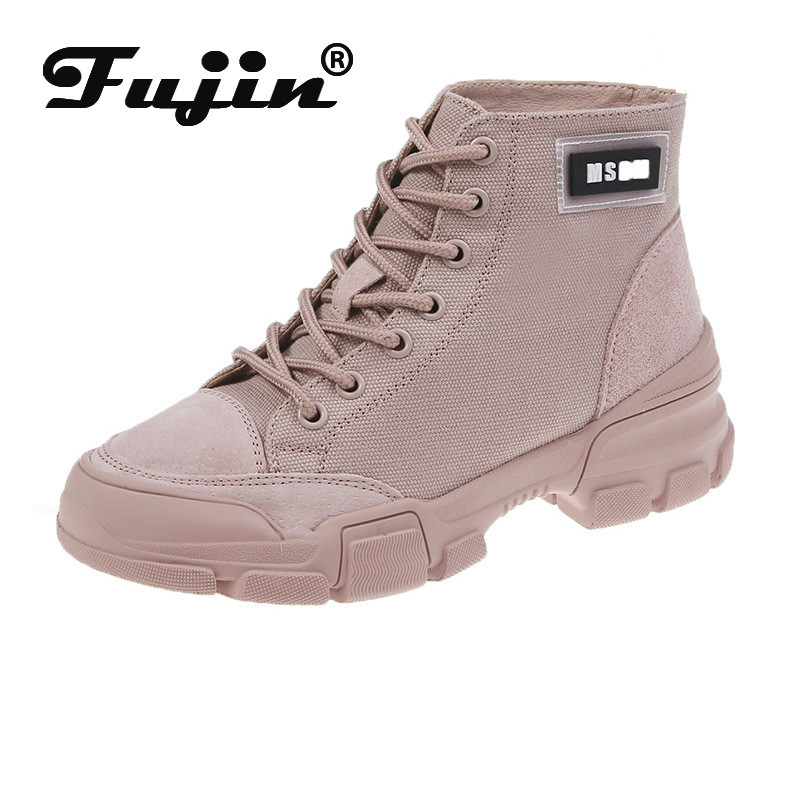 Fujin Female Boots Pink Flat-Bottom Autumn Casual Women Student Canvas New-Style