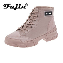 Fujin Autumn Winter Boots Women Canvas Boot Dropshipping 2019 New Style Flat Bottom Student Thin Casual Female Pink