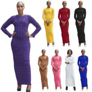 Fashion Abaya Dubai Women Long Sleeve Bodycon Dress Muslim Stretch Pencil Maxi Abayas Kaftan Islamic Clothing Robe Gown Jilbab