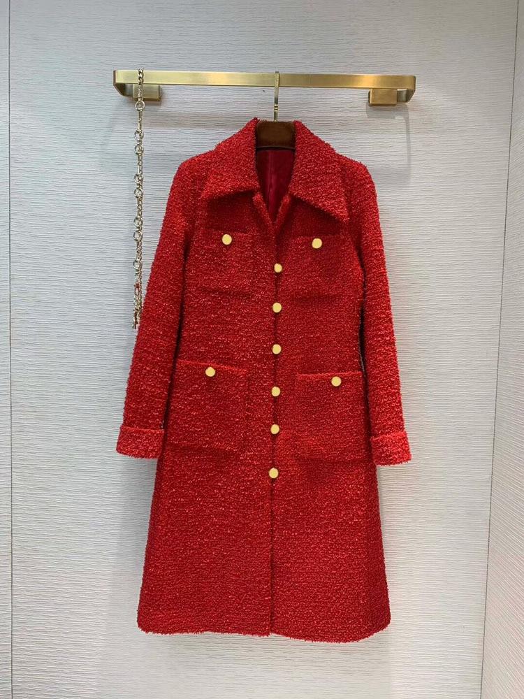 2019 automne et hiver nouvelle mode dames en trois dimensions coupe rouge Long manteau livraison gratuite dans le monde entier - 2