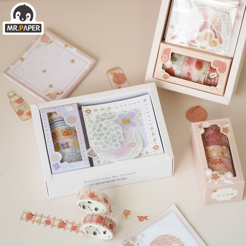 Mr.Paper 4 Designs Sakura Gilding Girlish Bullet Journaling Washi Tape Sticker Set Scrapbooking Deco Masking Tapes Child Gifts