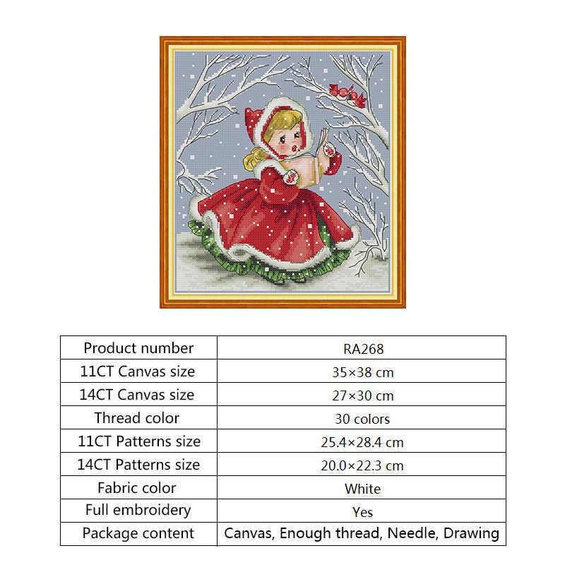 Kit di ricamo Punto Croce Conteggio DMC Filo 14 11CT Aida Tessuto solubile in Acqua della Tela di Canapa Stampata Croce Stich Ricamo A Mano artigianato