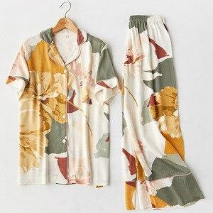 Image 2 - Femme Pajama Suit Print Flower Long Sleeve 2pcs Shirt+pants Nightwear Casual Women Pajamas Set Cotton Sleep Wear
