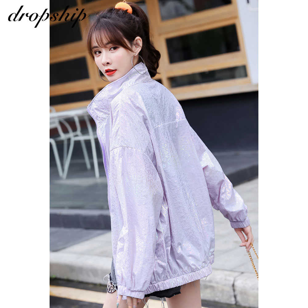 Dropship Frauen Sommer Windjacke Reflektierende Lose Dünne Harajuku Frauen Sonnencreme Jacke Lange Koreanische Kpop Kleidung 2020 Top