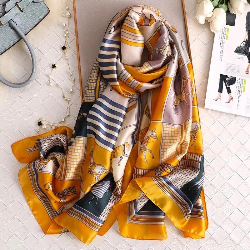 Classic Women Silk Scarf Female Horse Printed Scarves Ladies Beach Wrap Chiffon Shawl Sunscreen Soft Foulard Muffler Bandanna