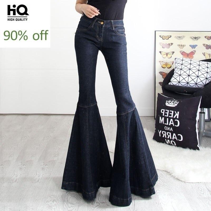 2020 New Fashion Mid Waist Jeans Vintage Big Flare Pants Women Wide Leg Long Denim Trousers Slim Fit Bell Bottom Jeans Plus Size