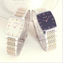 Couple watches Quartz Waterproof square slim two-pin fashion gold-silver strap c