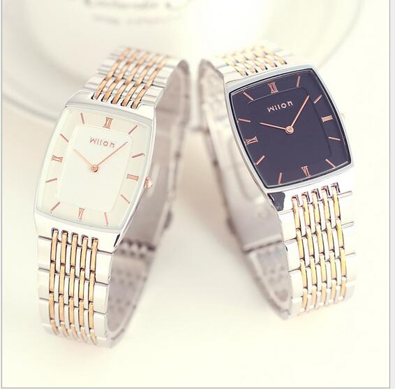 Couple Watches Quartz Waterproof Square Slim Two-pin Fashion Gold-silver Strap Couple Gifts Men Women Lovers Watch 919 Battery