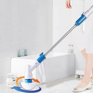 Электрическая вращающаяся скрубберная турбо-щетка для очистки, беспроводная заряжаемая щетка для ванной комнаты с удлинительной ручкой, А...
