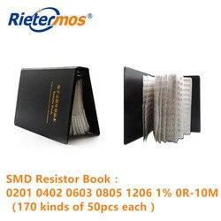 SMD Resistor Book 0201 0402 0603 0805 1206 1% 0R-10M 170 rodzajów 50 sztuk każda próbka rezystancji