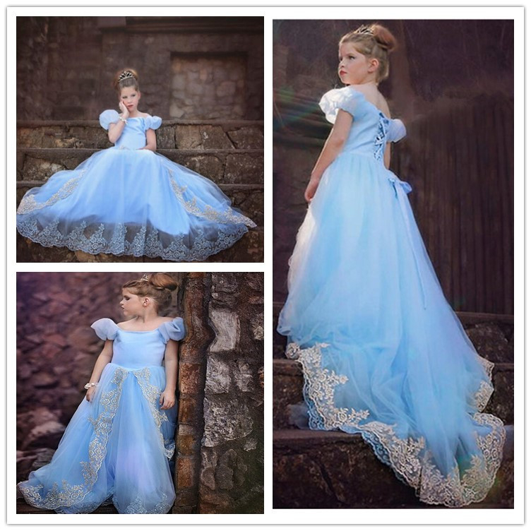 Tulle Short Ruffle Sleeves Round Neck Baby Blue Flower Girl Dresses Floor Length 2020 Court Train Weddings Birthday Party