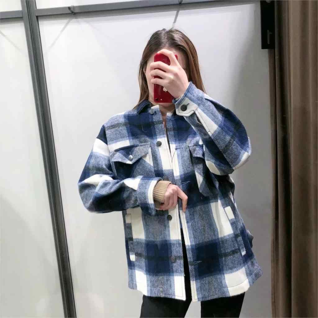 Primavera Inverno Cappotti E Giacche Donna Giacca a Quadri Casuale Allentato Coreano di Grandi Dimensioni Giacche Donna Rosso Verde Cappotto Giacca a Quadri