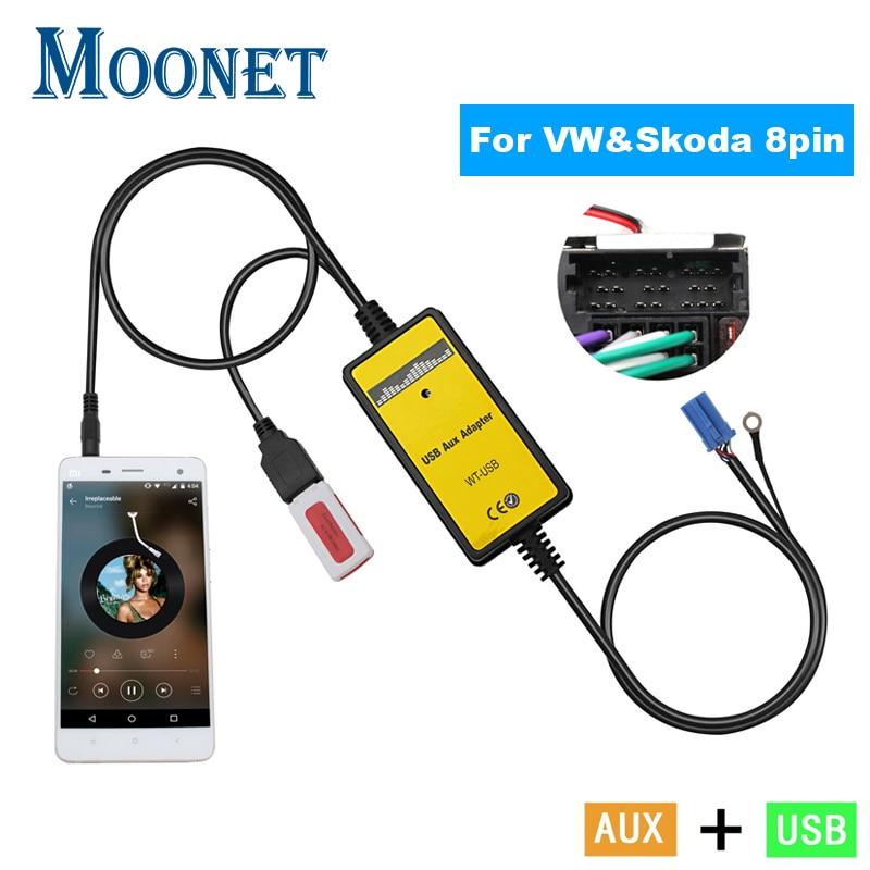 Moonet Car Audio USB AUX Adapter MP3 3.5mm Interface CD Changer For Volkswagen Skoda Golf Passat Spuerb Octavia 8pin QX010(China)