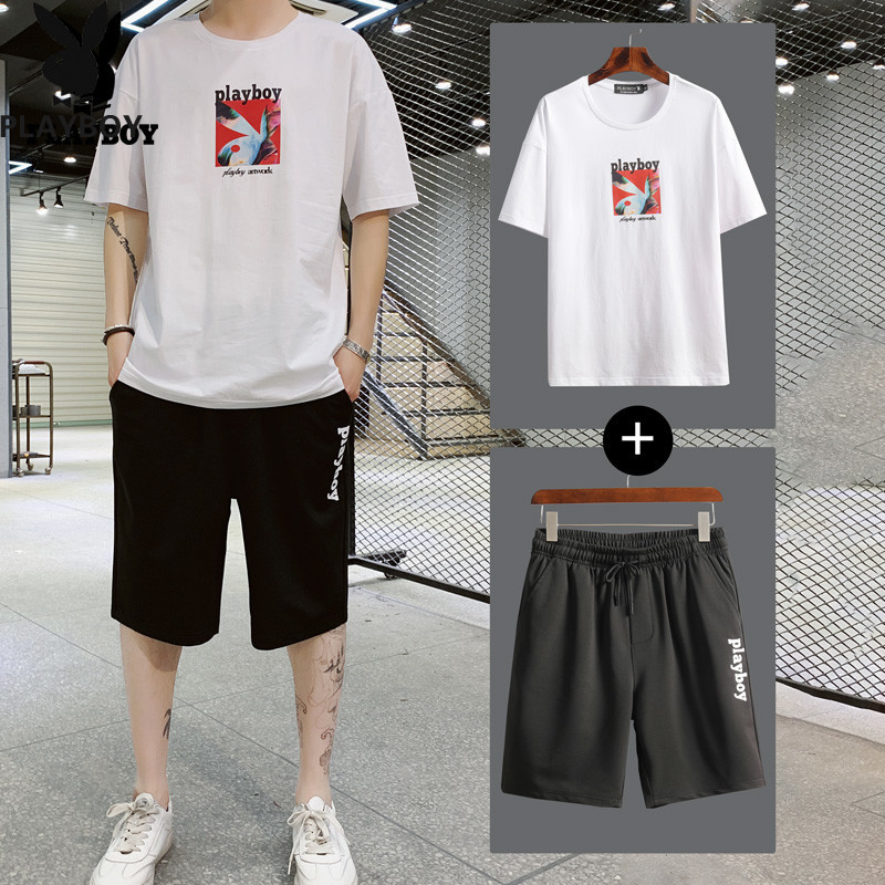 2020 New Playboy Fashion Men's Summer Breathable Comfortable T-Shirt   Sports Shorts Casual Sports Suit Running Set