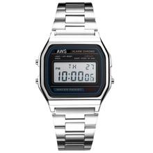 AWS WATERPROOF HIGH QUALITY STAINLESS STEEL WATCH UNISEX WATCH Men's A158W  Stainless Steel Digital Watch