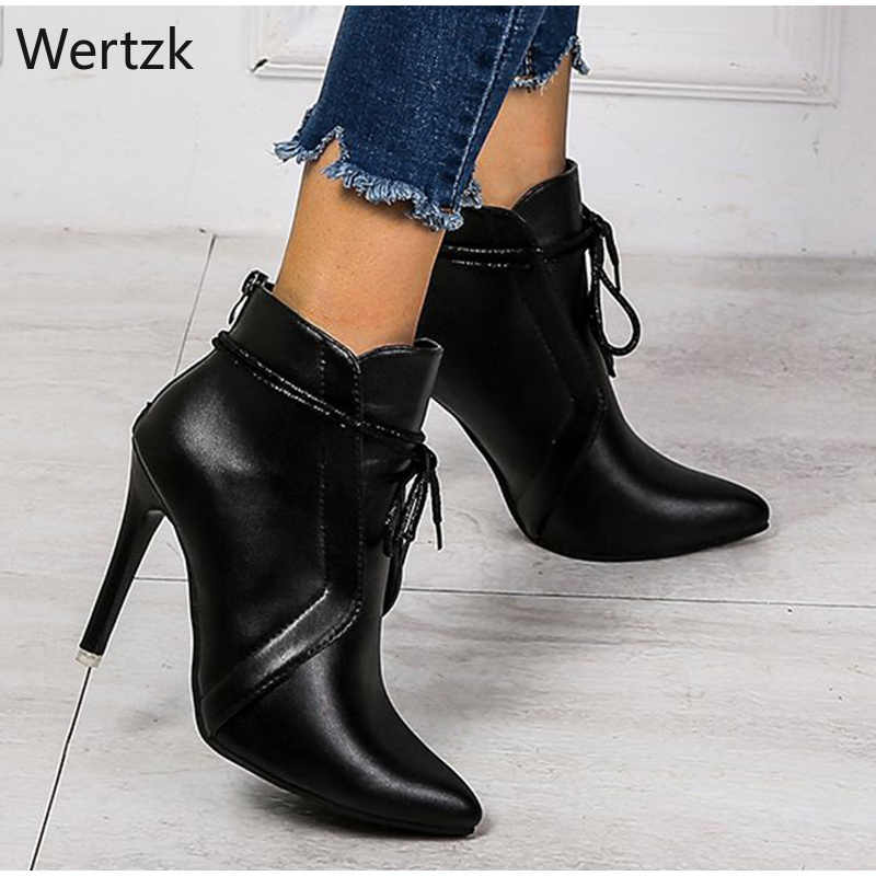 ผู้หญิงฤดูใบไม้ร่วงชี้เท้าข้อเท้ารองเท้าผู้หญิงบางสูงรองเท้าส้นสูงผู้หญิงลูกไม้ U สั้นหญิงซิปสุภาพสตรีรองเท้า A970