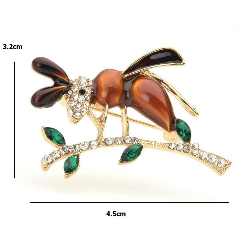 Wuli & baby Strass Emaille Bee Broschen Frauen Legierung Ant auf die Baum Insekt Casual Party Brosche Pins Geschenke