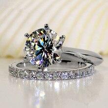 جودة فاخرة SONA الاصطناعية حجر خاتم الزواج مجموعة ، طقم عروسة ، خاتم الخطوبة مجموعة للنساء ، انخفاض الشحن بالجملة