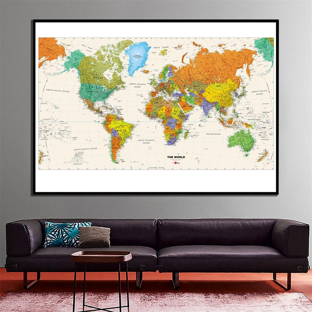 2x4ft The World Physical Map Revised 2010 HD World Map For School/Office Classroom Wall Decoration