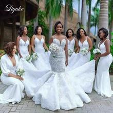 Liyuke Luxe Mermaid Wedding Jurk Met Glanzende Steentjes Van Spaghetti Band Prachtige Bruidsjurk