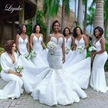 Роскошное свадебное платье Русалка Liyuke с блестящими стразами на бретельках, великолепное свадебное платье