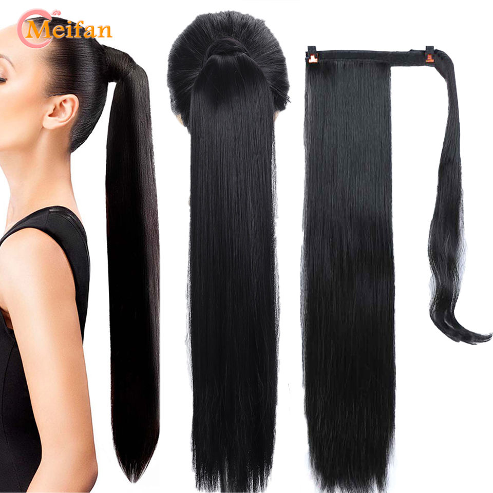 MEIFAN Long Curly/Straight Clip In Hair Tail Nature False Ponytail Hairpiece With Hairpins Synthetic Ponytail Hair Extension