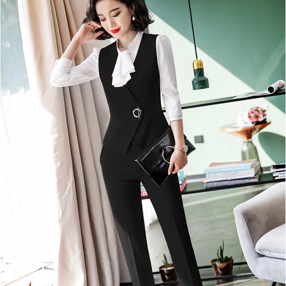 New Female Elegant Formal Office Work Wear OL Pant Suit Women Red Slim Sleeveless Vest Blazer And Pants For Ladies 2 Pieces Set
