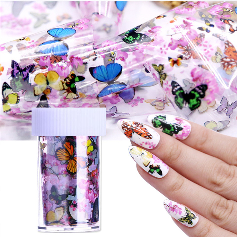 1 Bottle Nail Art Transfer Foils Nail Sticker Tip Decal Decoration Design DIY Butterfly Plum Flower Manicure Tools Nail Art