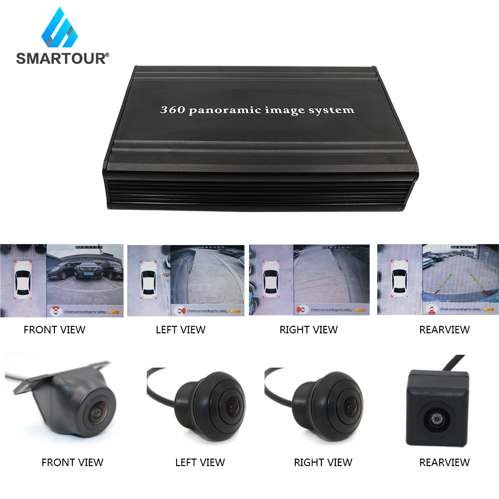 Smartour Car Parking Surround View DVR Video Recorder Box HD 720P 2D 360 Degree Bird View Panorama System With 4 Camera