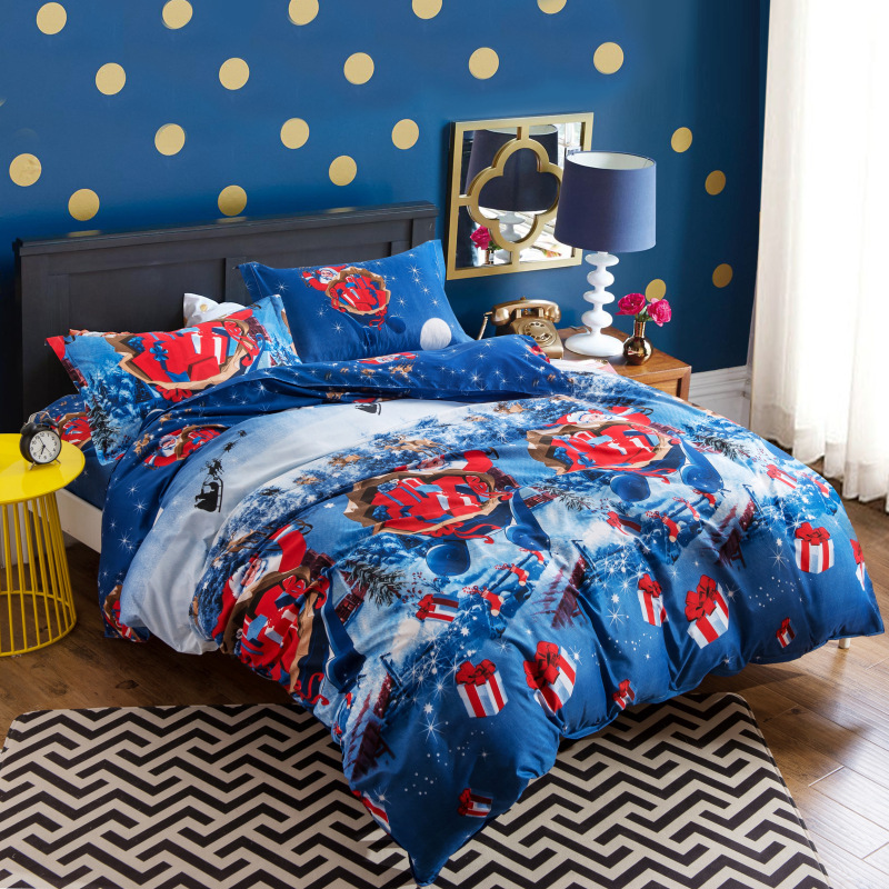 3D Textile Selling Santa Christmas Gift Beddings 4-piece Bedding Set