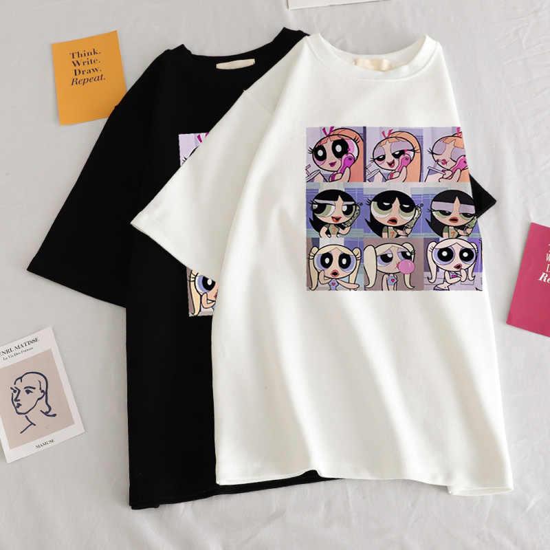 Nueva Camiseta holgada informal de manga corta para mujer, con estampado de dibujos animados, camiseta veraniega de Moda Verde para mujer, camiseta Harajuku