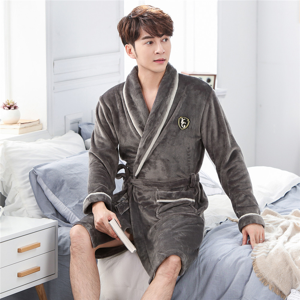 Coral Fleece Men Sleepwear Robe Kimono Gown Night Wear Casual Autumn Winter Novelty Nightdress Bathrobe Gray Home Clothing