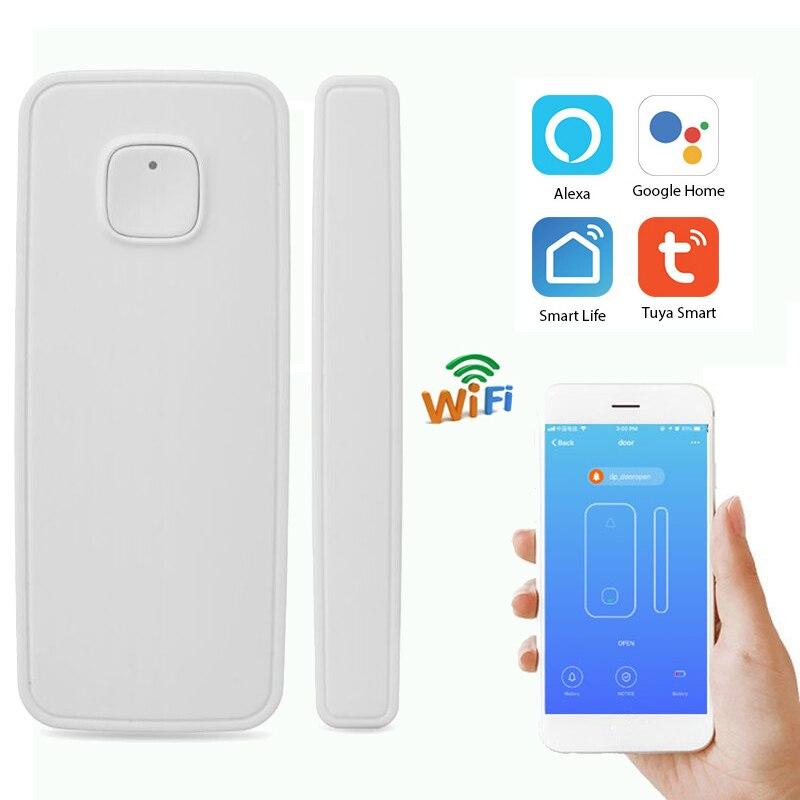 Wireless Smart WiFi Door Window Sensor Magnetic Detector Lock Door Sensor Alarm APP Control Work Amazon Alexa Google IFTTT