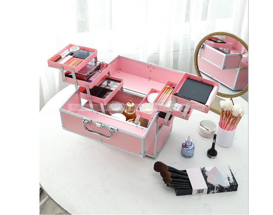 Women Travel Multilayer Cosmetic Bag Cosmetic Makeup Case Large Capacity Beauty Salon Case Tattoos Nail Art Tool Bin Storage Box