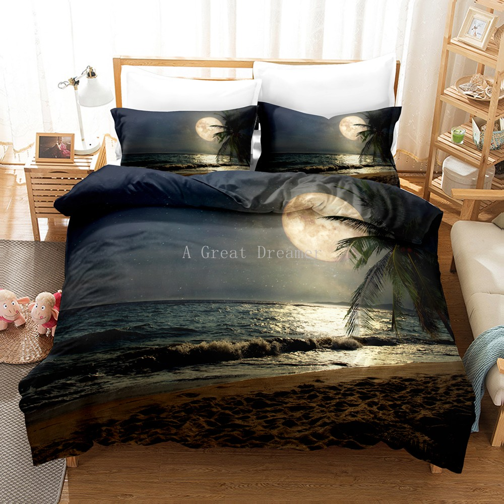 Moon Bedding Set Night View Duvet Cover Set With Pillowcase Bedding King Queen Full Double Single Size Luxury Bedxclothes Decor