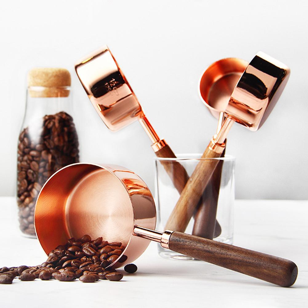 4/8pcs Walnut Wooden Handle Stainless Steel Measuring Cups Spoons Plated Copper Rose Gold Kitchen Baking Measuring Spoon Set