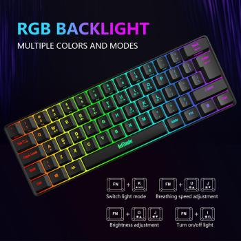 RedThunder 60% Wired Gaming Keyboard, RGB Backlit Ultra-Compact Mini Keyboard, Mechanical Feeling for PC, MAC, PS4 Gamer 2